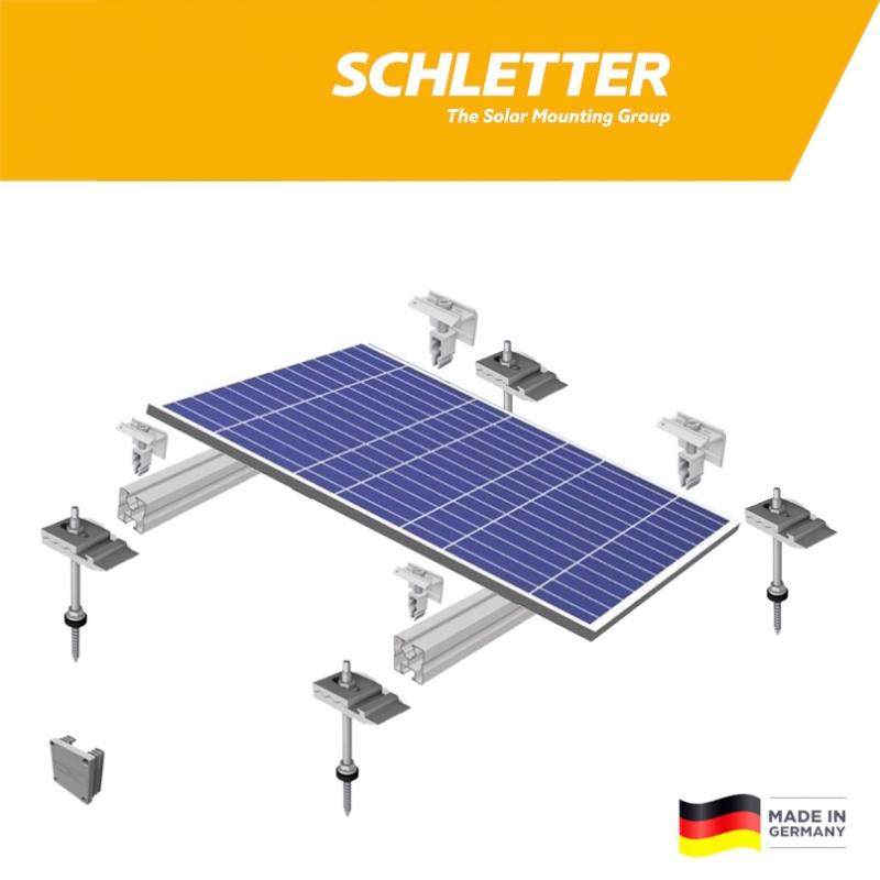 Nosná konštrukcia Schletter pre šikmú eternitovú strechu